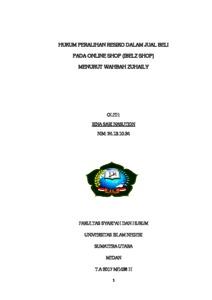 Hukum Peralihan Resiko Dalam Jual Beli Pada Online Shop Ibelz Shop Menurut Wahbah Zuhaily Repository Uin Sumatera Utara