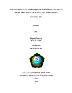 Pengaruh Kinerja Keuangan Terhadap Harga Saham Perusahaan Tekstil Yang Terdaftar Di Bursa Efek Indonesia Bei Tahun 2012 2016 Repository Uin Sumatera Utara