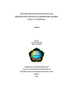 Analisis Strategi Pemasaran Dalam Meningkatkan Penjualan Ekspor Kopi Arabika Pada Cv Yudi Putra Repository Uin Sumatera Utara