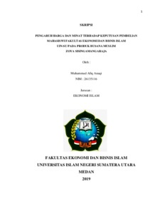 Pengaruh Harga Dan Minat Terhadap Keputusan Pembelian Mahasiswi Fakultas Ekonomi Dan Bisnis Islam Uin Su Pada Produk Busana Muslim Zoya Sisingamangaraja Repository Uin Sumatera Utara