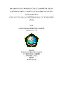 Implementasi Zakat Profesi Dikalangan Aparatur Sipil Negara Berdasarkan Undang Undang Nomor 23 Tahun 2011 Tentang Pengelolaan Zakat Studi Di Kantor Wilayah Kementerian Agama Provinsi Sumatera Utara Repository Uin Sumatera Utara